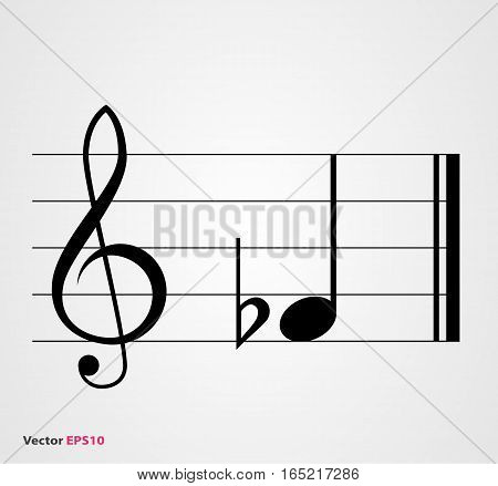 Flat musical symbol with note treble clef and staff