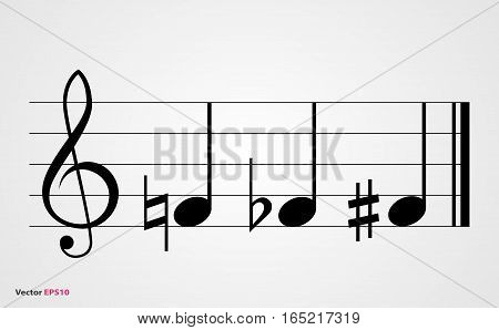 Flat sharp and natural musical symbols with note treble clef and staff