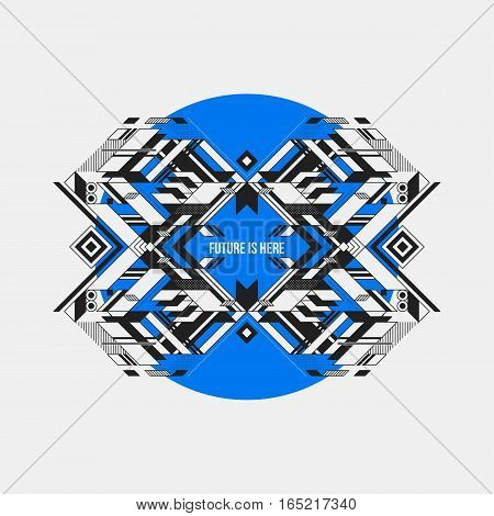 Abstract Symmetric Design Element On Blue Circle. Futuristic Design, Useful For Prints And Posters.