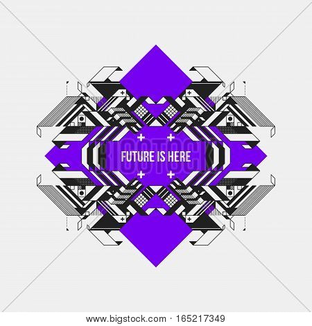 Abstract Symmetric Design Element On Violet Rhombus. Futuristic Design, Useful For Prints And Poster