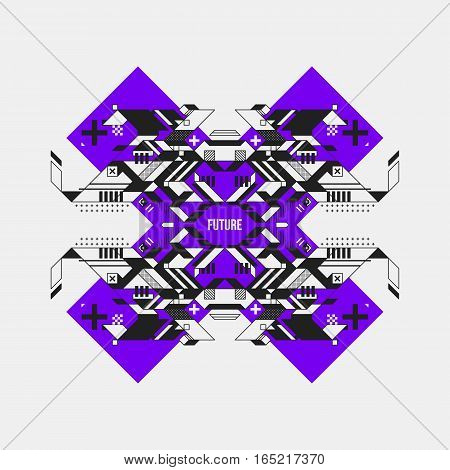 Abstract Symmetric Design Element On Violet Cross. Futuristic Design, Useful For Prints And Posters.