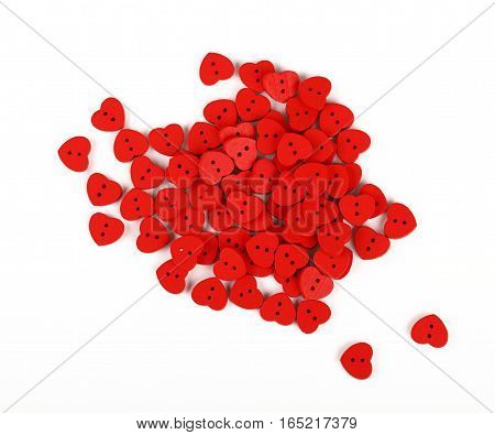 Red Heart Shaped Sewing Buttons Isolated On White