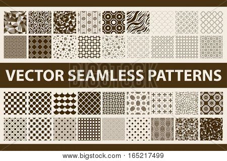 Retro Styled Vector Seamless Pattern Pack: Abstract, Vintage, Technology And Geometric. 36 Brown And