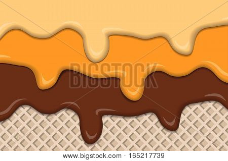 Vintage ice creams with wafer abstract background. Vector illustration