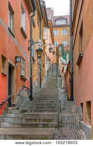Autumn day in Warsaw.Stairs in the old town.