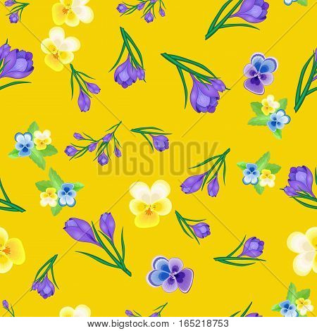 Beautiful spring seamless pattern with crocuses and Pansies.The flowers of saffron on a yellow background.Vector illustration.Print for gift wrapping, fabric, paper, postcards and website design.