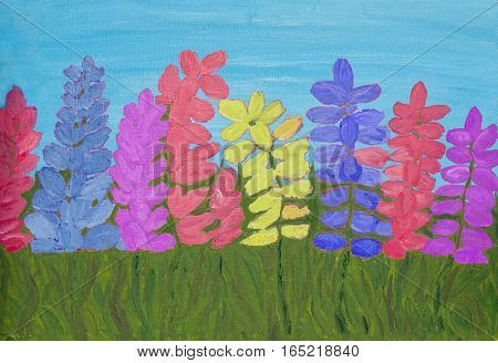 Many lupin flowers of different colours on blue sky oil painting on carbon.