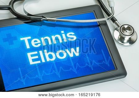 Tablet With The Diagnosis Tennis Elbow On The Display