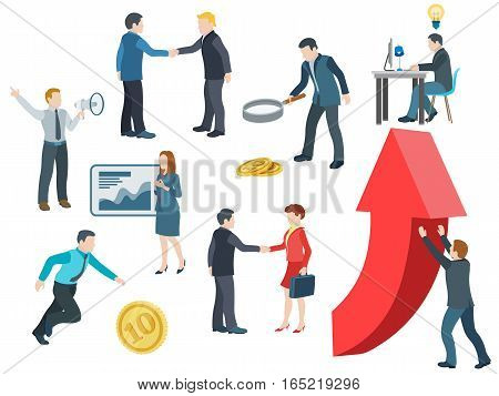 Business people working. Flat icons vector set. Conversation transactions PR new ideas presentation search for an investor increase in profits man running for the coin. Vector illustration.