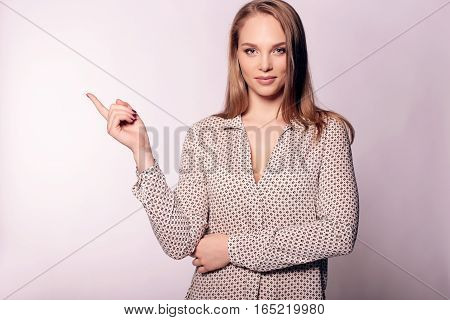 Businesslike Woman With Blond Straight Hair In Elegant Office Outfit