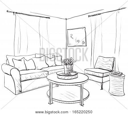 Room interior sketch. Hand drawn sofa and bookshelves.