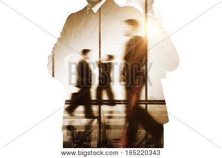 Businesspeople silhouettes. Double exposure. Close - up.