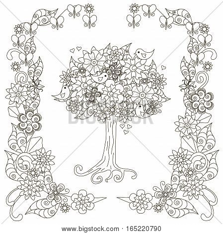 Anti stress blooming tree, birds with hearts, flowering frame hand drawn vector illustration