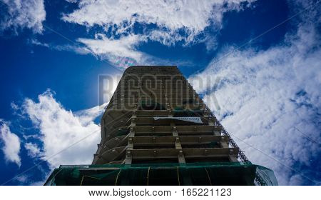 Building on progress with beautiful sky view as background photo taken in Jakarta Indonesia java