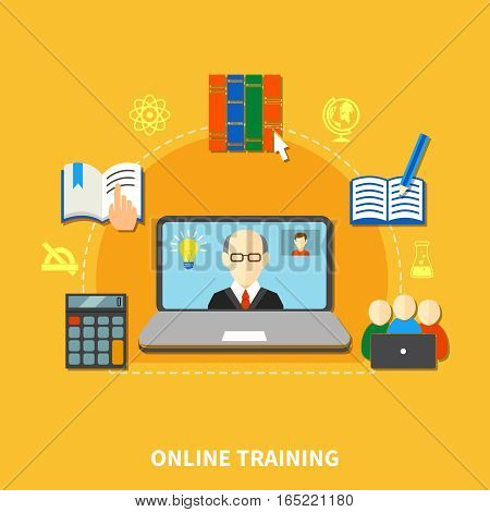 E learning colored composition with circle dotted line and thematic icon set around vector illustration