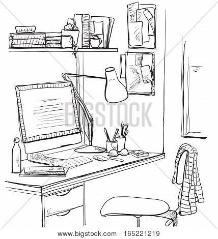 Hand drawn sketch of modern workspace with work table. Workspace hand dawn illustration.