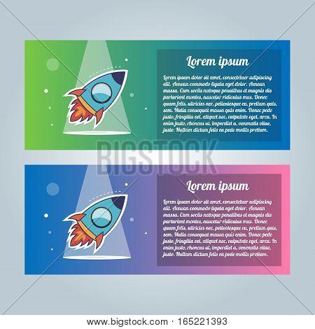 Rocket flyer set. Vector illustration on a white background. Collection of modern brochures.