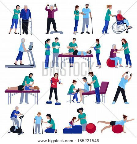 Physiotherapy rehabilitation sessions for people with cardiovascular geriatric and neurological disorders flat icons collection isolated vector illustration