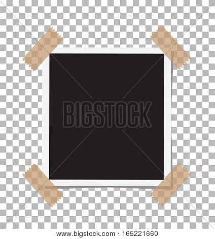 Vintage Photo Frame Sticked on Duct Tape to Background. Retro Photorealistic Photo Frame