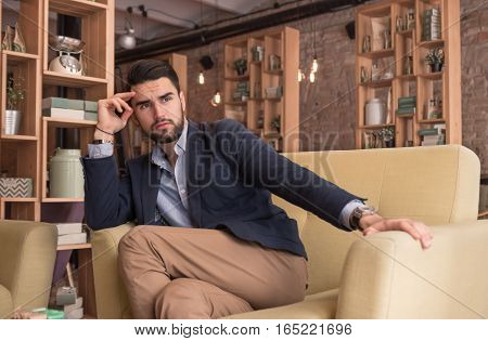 Young Handsome Man Thinking Looking Cafe Indoors