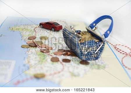 Traveling money spending. Abstract composition of travel money saving.