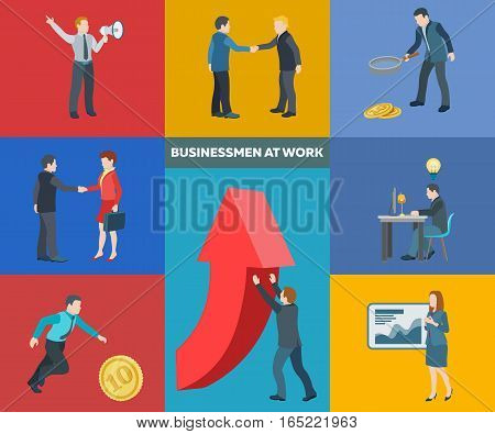 Business startup work moments. Flat icons set. Conversation transactions PR new ideas presentation search for an investor increase in profits man running for the coin. Vector illustration.