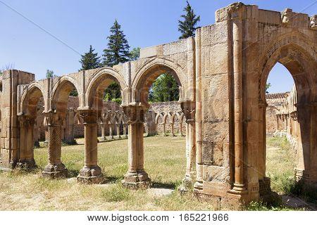 Ruined gothic cloister of San Juan de Duero Monastery in Soria