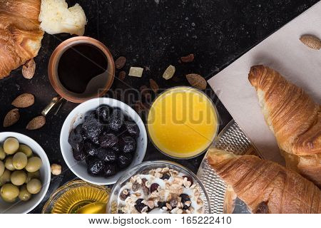 Breakfast Assorted Yoghurt, Granola, Coffee, Juice, Croissant, Olives. Appetizer Mix With Morning Di