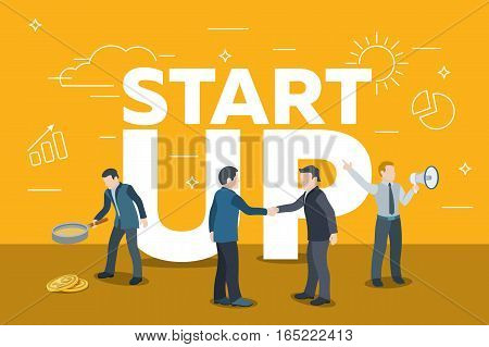 Business startup work moments. Search money contracting promotion. Man with a magnifier two people shake hands a man with a loudspeaker. White letters startup Vector illustration in a flat style.