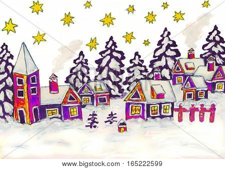 Painted illustration winter landscape with houses in blue colours can be used as illustration for Chirstmas and New Year holidays.
