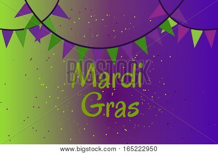Picture ready for use in Mardi Gras holiday thematic. Garland of colour flags and confetti