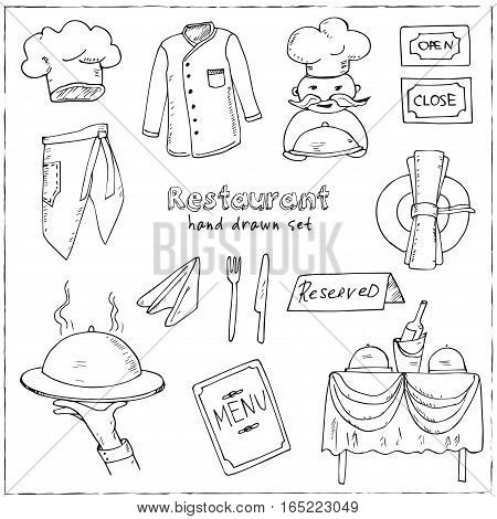 Restaurant doodle set. Hand drawn. Vector illustration