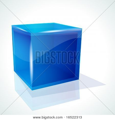 Blue cube on white background