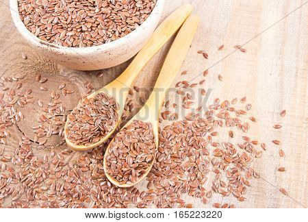 Linseed, Flax Seeds - Concept Of Healthy Nutrition.