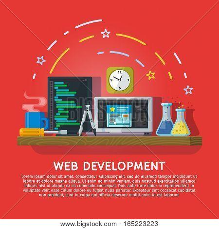 Flat color banner design concept for creative studio. Website development. Modern flat design for Web Banner Website Element or Book cover. Workspace designer and programmer. Vector illustration