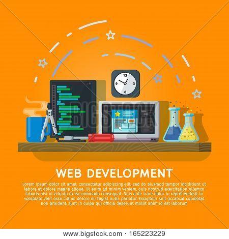 Flat color banner design concept for creative studio. Programming and coding. Modern flat design for Web Banner Website Element or Book cover. Workspace designer and programmer. Vector illustration