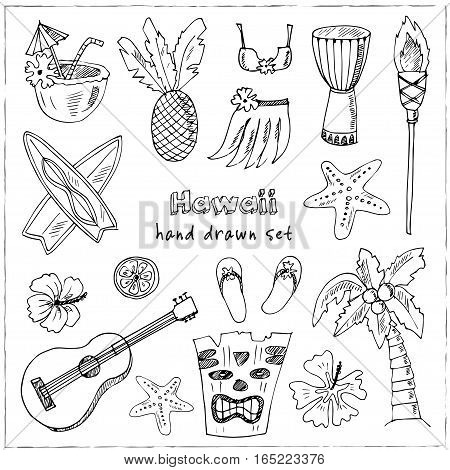 Hawaii Symbols and Icons, including Hula skirt, tiki gods, totem pole, drums, guitar and palm Vector illustration