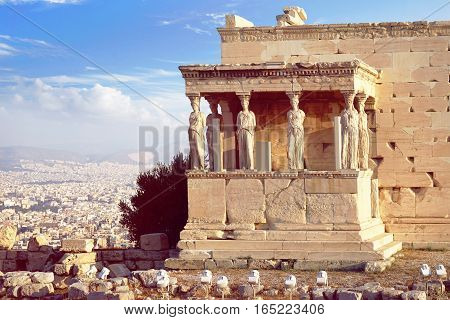 Caryatid Porch of the Erechtheion in Athens Greece