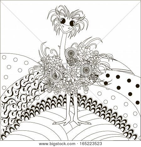 Zentangle hand drawn black and white ostrich on hills, anti stress vector illustration
