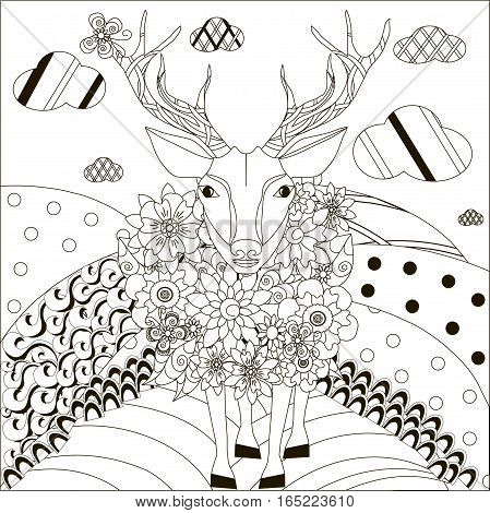 Zentangle hand drawn black and white deer on hills, anti stress vector illustration