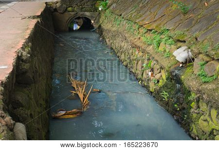 Dirty ditch with grey water photo taken in Jakarta Indonesia java