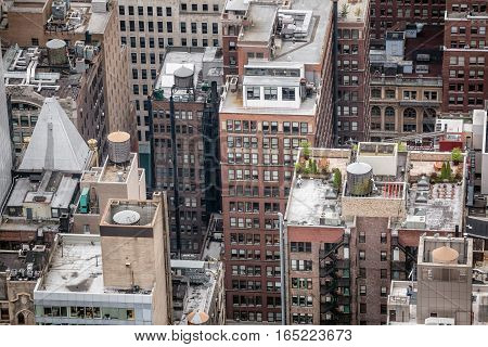 NEW YORK USA - May 03 2016: The streets and roofs of Manhattan. New York City Manhattan midtown view