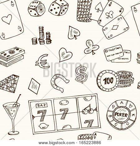 Hand drawn doodle seamless pattern Casino icons. Vector illustration set. Cartoon Gambling symbols. Sketchy game elements collection: bet jackpot cards chips coins darts roulette poke, money.