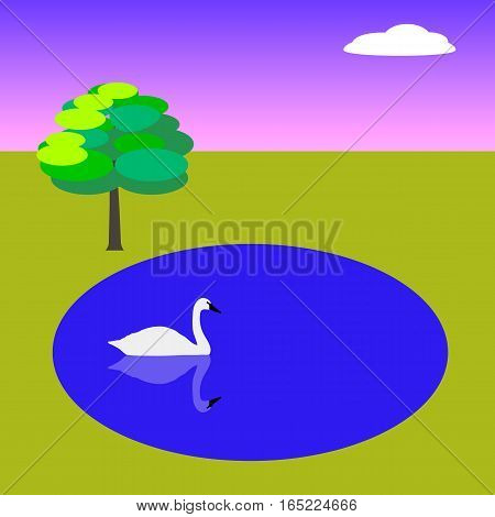 Primitive vector landscape with lake swan and tree