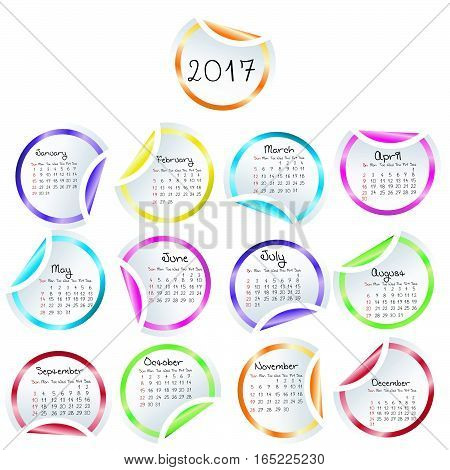Calendar 2017 with round glossy stickers  on white background