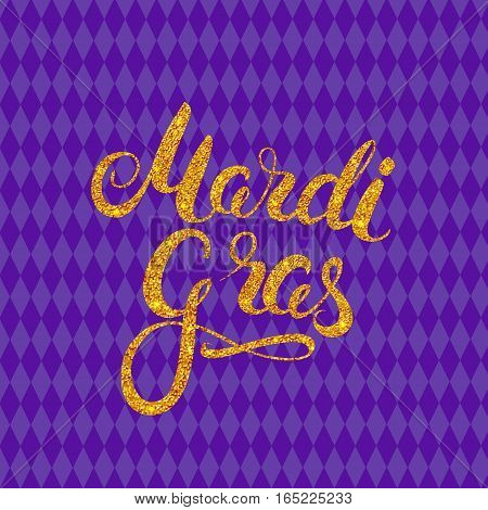 Carnival gold glitter texture callygraphy. Mardi Gras holiday card design template. Vector Illustration.