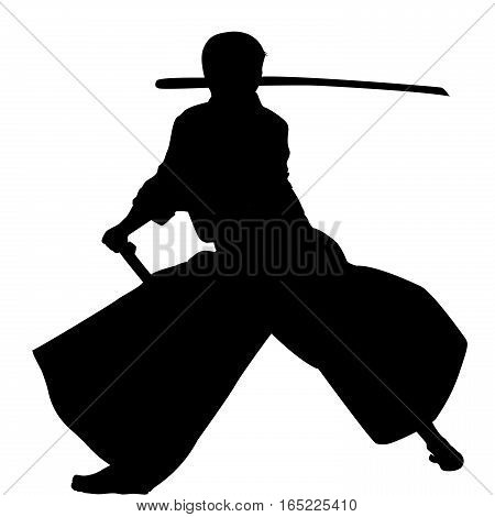 Samurai with katana sword practicing Aikido on white background