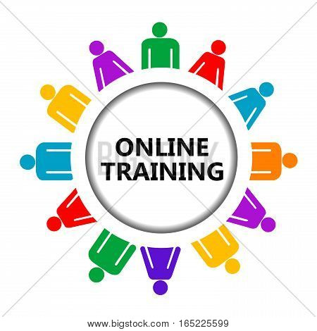 Online training icon with stylized group of people