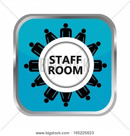 Staff room blue button on white background