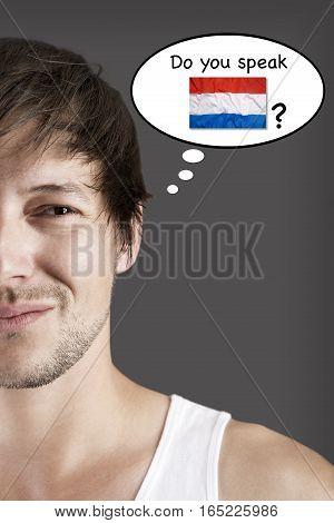 Handsome student do you speak Dutch? Language concept